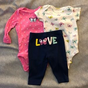 Carter's baby girls onesie outfit 3 months